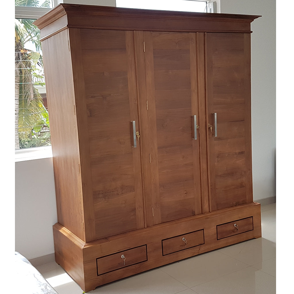Three Doors & Three Drawers Teak Wood Wardrobe