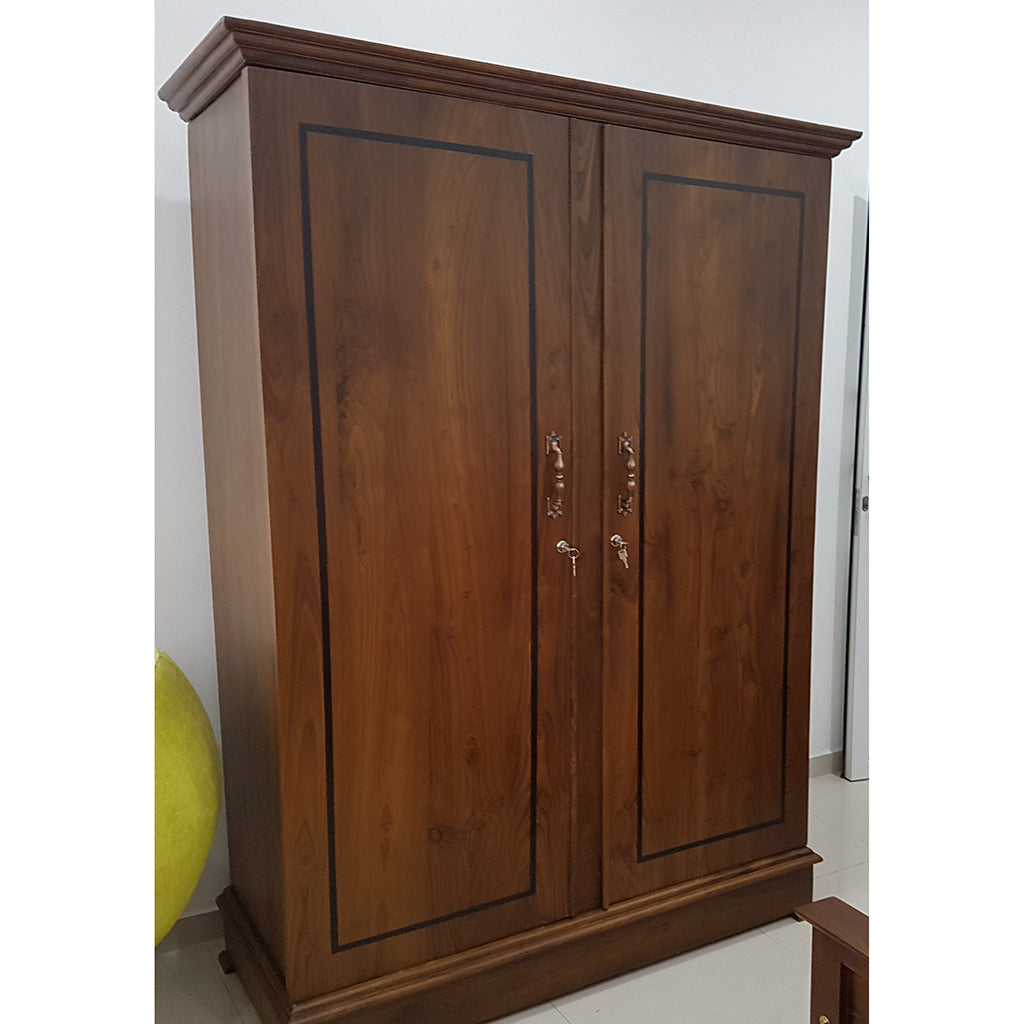 Two Doors Brown Color Teak Wood Wardrobe 3 - Jaydy Furniture - mylife-sa.myshopify.com
