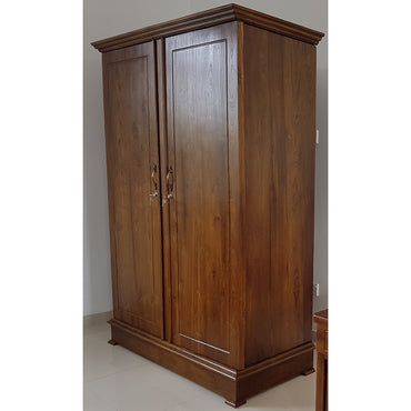 Two Doors Brown Color Teak Wood Wardrobe 4 - Jaydy Furniture - mylife-sa.myshopify.com