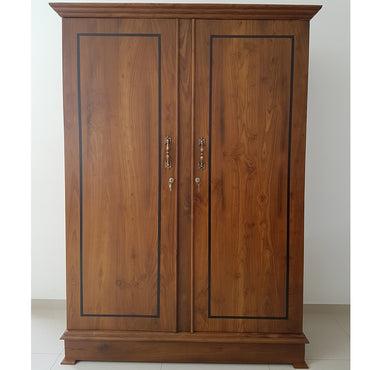 Two Doors Brown Color Teak Wood Wardrobe 5 - Jaydy Furniture - mylife-sa.myshopify.com