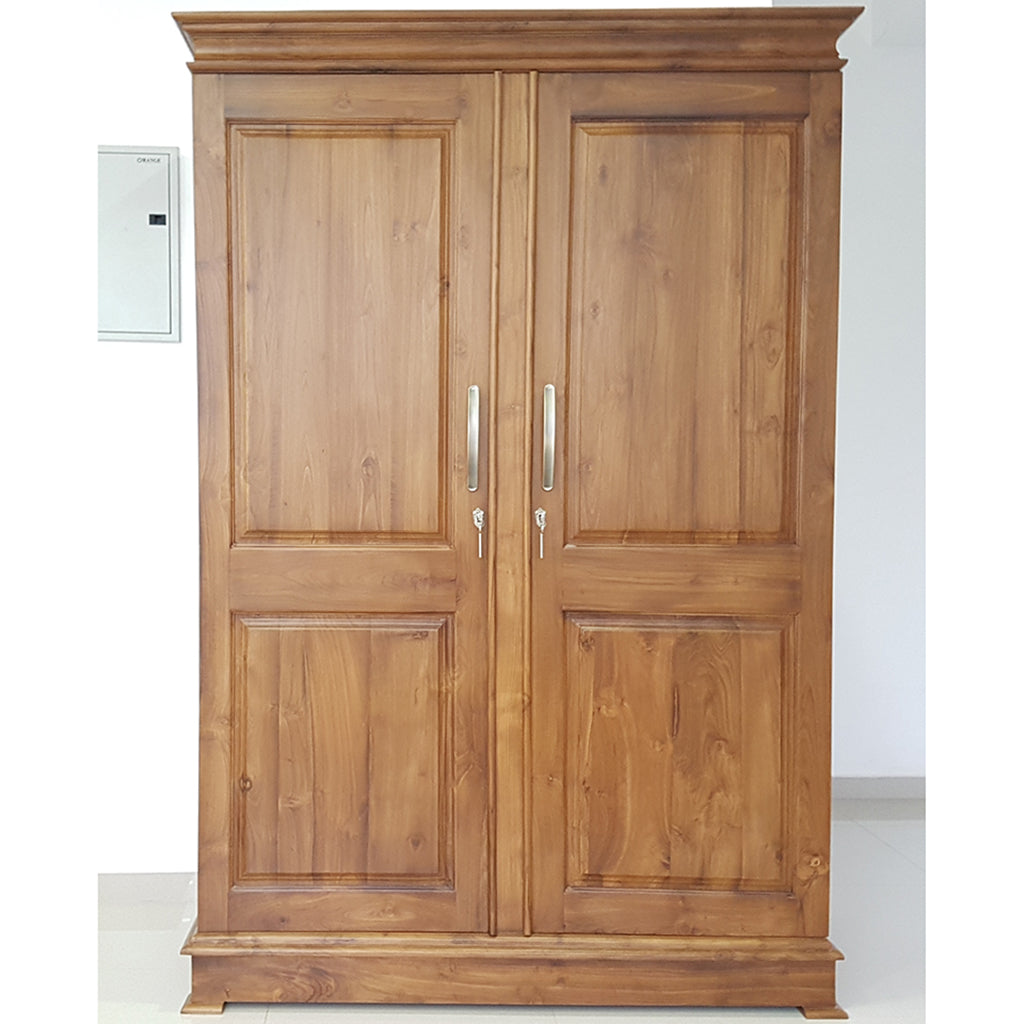 Two Doors Brown Color Teak Wood Wardrobe 6 - Jaydy Furniture - mylife-sa.myshopify.com