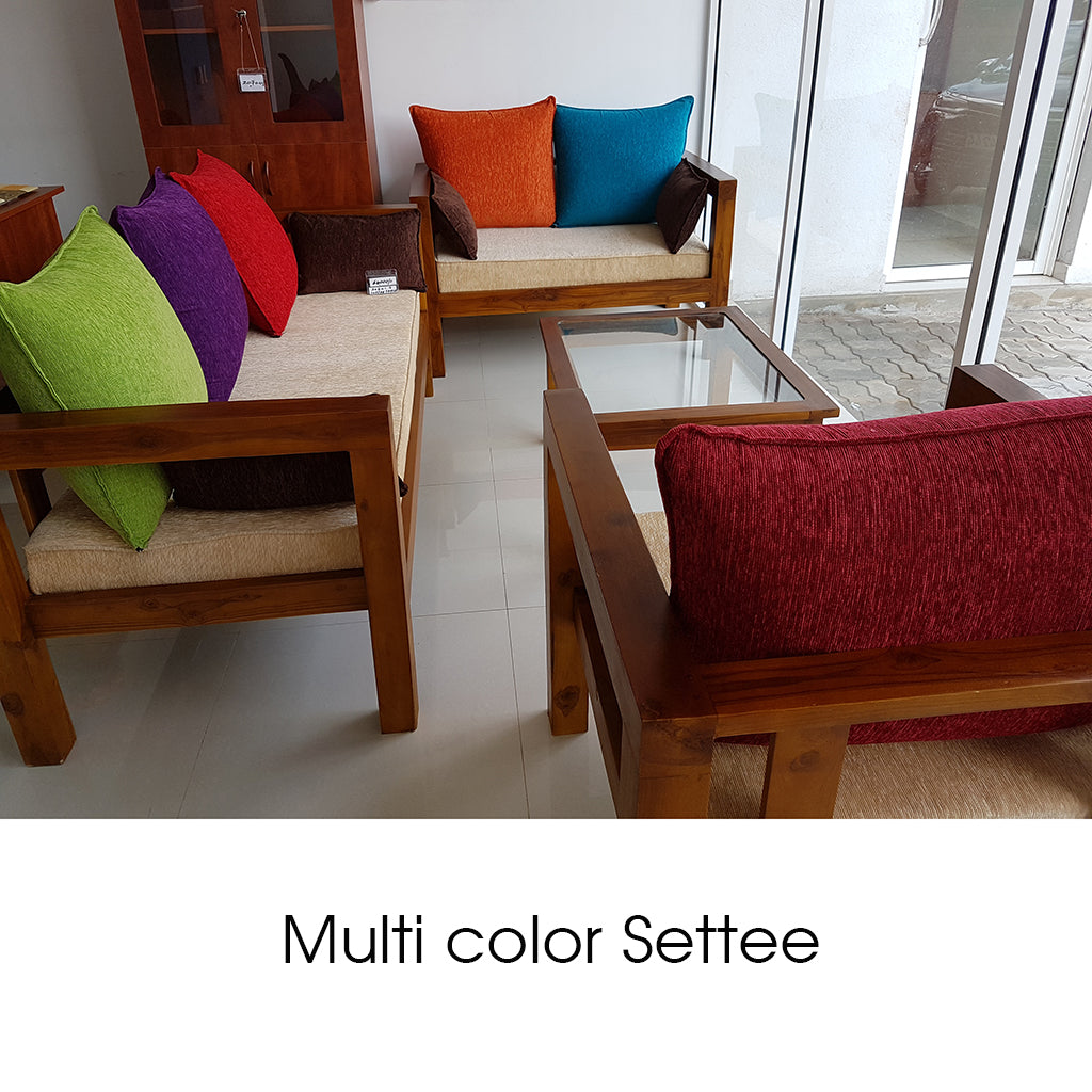 Teak Wood Multi Color Settee