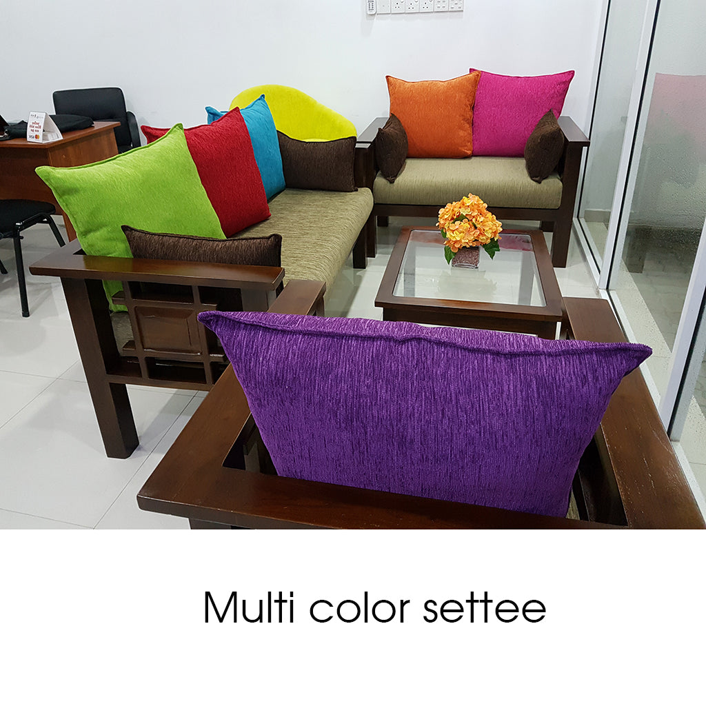 Teak Wood & HS Fabric Multi Color Settee