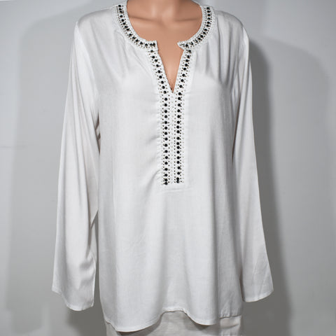 Long Sleeve Plus Size Womens Beaded Top