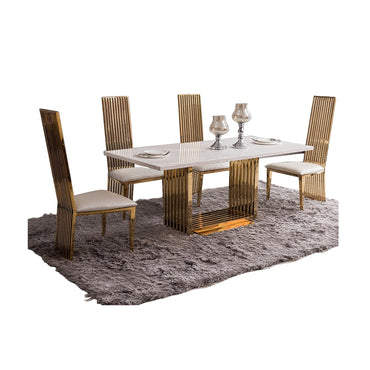 (Global Shop) Gold Stainless Steel 4 Chairs Dining Table Set