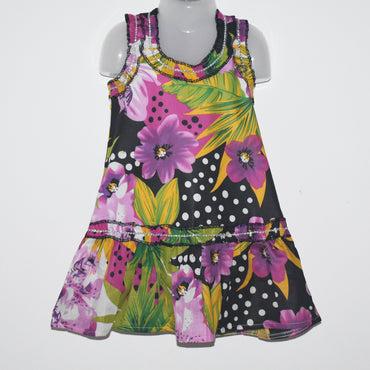 Flower Printed Sleeveless Kids Girls Dress