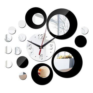 (Global Shop) Acrylic Mirror Multi-color 3D Wall Stickers Clock