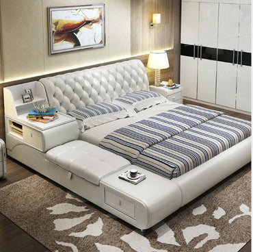 (Global Shop) Modern Real Genuine Leather Soft Double Bed