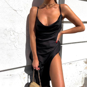 (Global Shop) Women Side Slit Backless Sexy Midi Party Dress - My Life