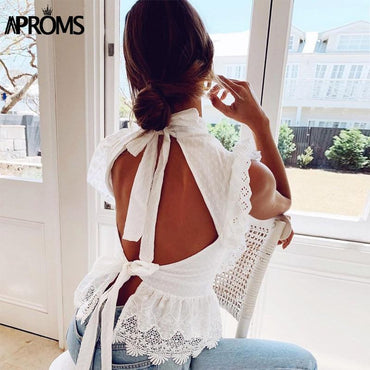 (Global Shop) Elegant Lace Embroidery White Sleeveless Blouse