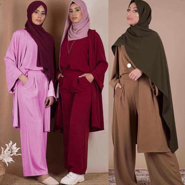 (Global Shop) Three-piece Abaya Turkish Kimono Tops Pants - My Life