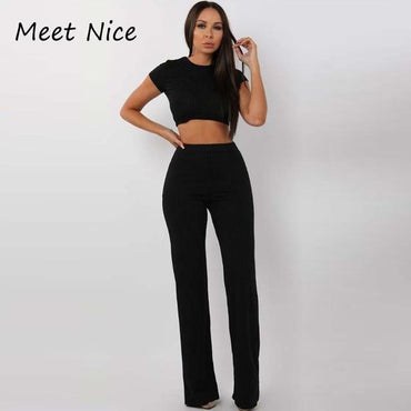 (Global Shop) Women Sexy Ribbed Top and Long Pants Two Piece Set