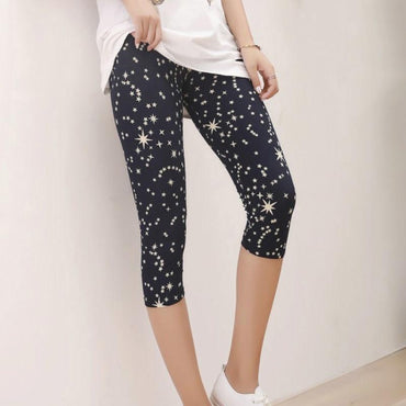 (Global Shop) Women Black Printed Three Quarter Leggings