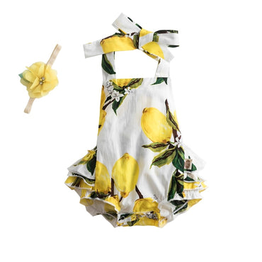 (Global Shop) Flower Printed Baby Girl Jumpsuit