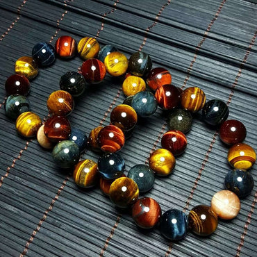 (Global Shop) Multi Color Natural Tiger Eye Stone Bracelet