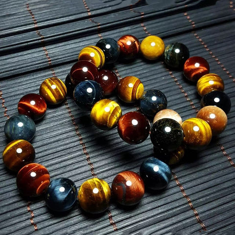 (Global Shop) Multi Color Natural Tiger Eye Stone Bracelet - Cheng Pin Wo Store - mylife-sa.myshopify.com