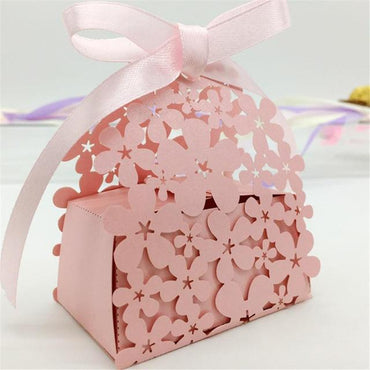 (Global Shop) 50Pc/lot Flower Pattern Cardboard Laser Cut Paper Boxes