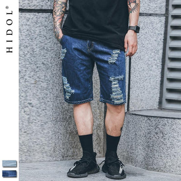 (Global Shop) Denim Scratched Hip Hop Bermuda Shorts