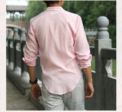 (Global Shop) Cotton Linen Ultra Thin Long Sleeve Shirt