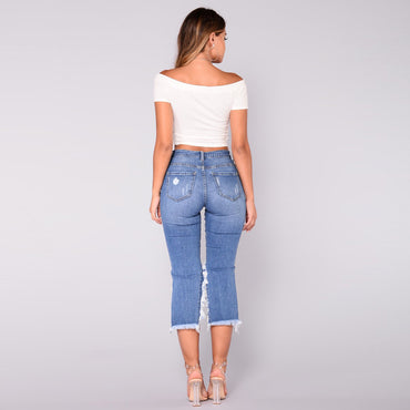 (Global Shop) Womens Casual Elastic Denim Destroyed Short - Bessky Technology - mylife-sa.myshopify.com