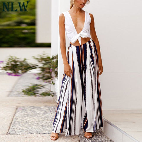 (Global Shop) Striped Wide Leg High Split Loose Casual Pant