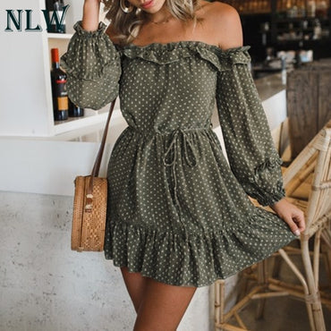 (Global Shop) Off Shoulder long Sleeve Elegant Chiffon Dress