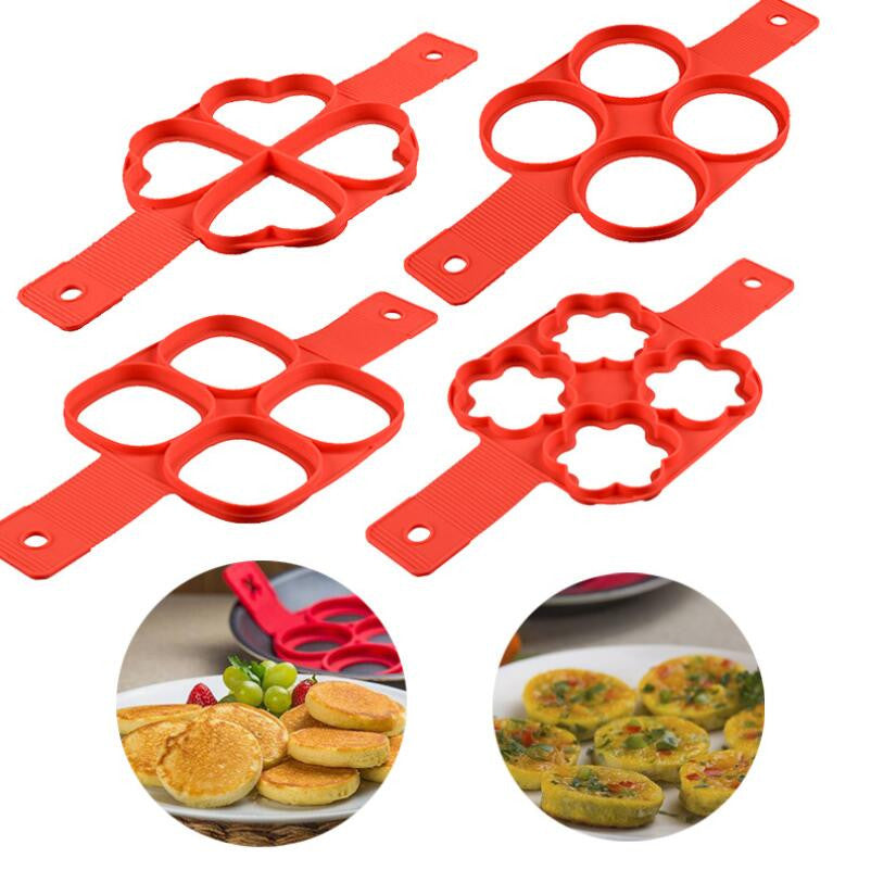 (Global Shop) Nonstick Easy Silicone Pancake Egg Ring Maker