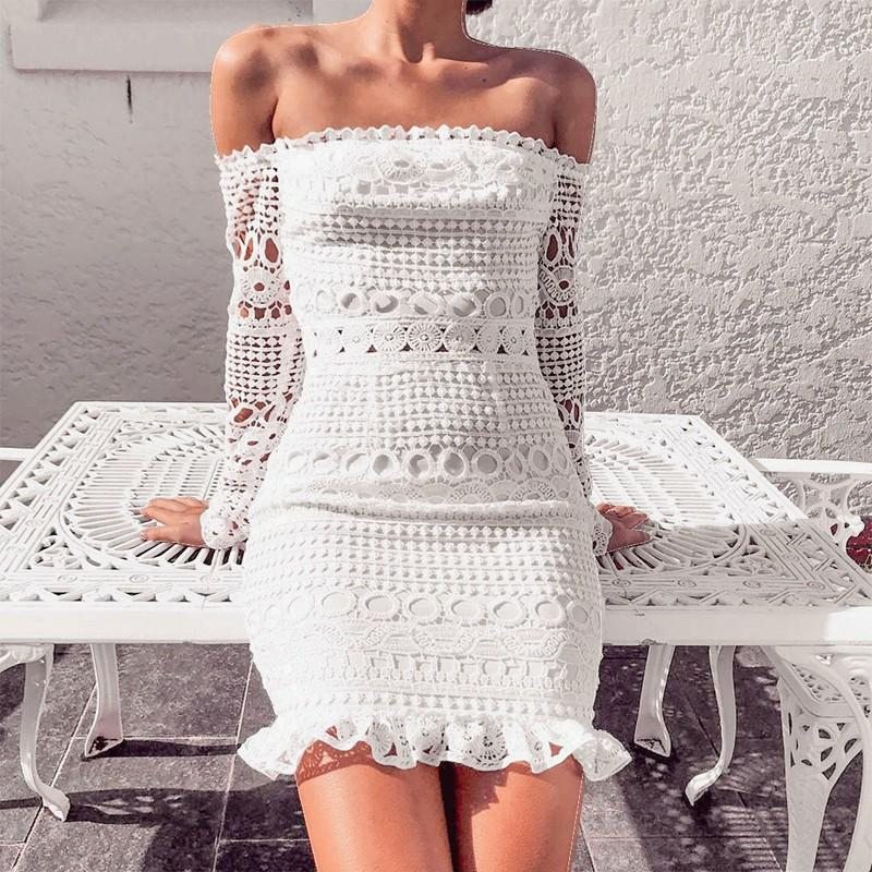 (Global Shop) Long Sleeve Lace Off Shoulder Mini Party Dress - Deshanee Dress Point - mylife-sa.myshopify.com
