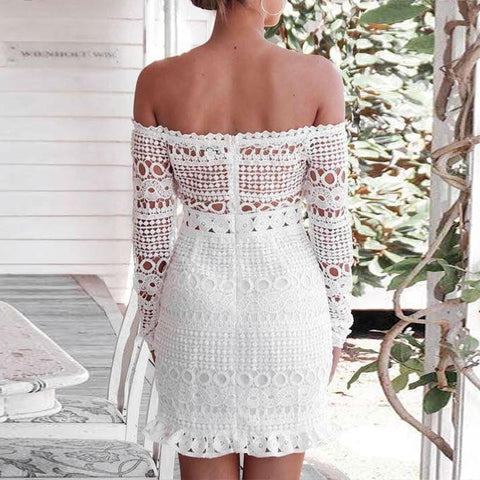 (Global Shop) Long Sleeve Lace Off Shoulder Mini Party Dress