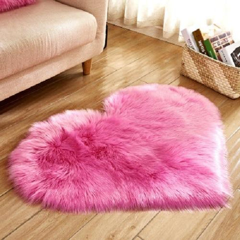 (Global Shop) Heart Shaped Artificial Wool Hairy Carpet Rugs - Observe - mylife-sa.myshopify.com