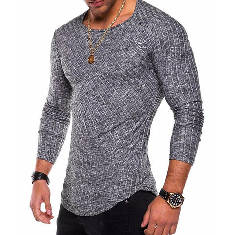 (Global Shop) Long Sleeve O Neck Slim Fit Casual Ribbed T-shirt