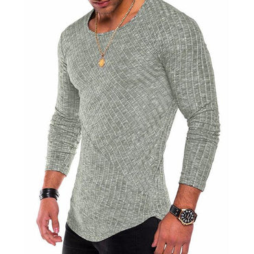 (Global Shop) Long Sleeve O Neck Slim Fit Casual Ribbed T-shirt - Deshanee Dress Point - mylife-sa.myshopify.com