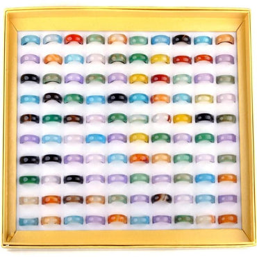 (Global Shop) 20Pcs/Lot Mixed Natural Stone Unisex Rings - JOY 100 - mylife-sa.myshopify.com