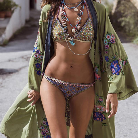 (Global Shop) Embroidered Boho Chic Bikini Cover up Ladies Cardigan