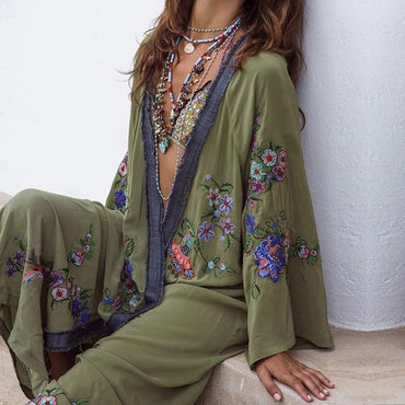 (Global Shop) Embroidered Boho Chic Bikini Cover up Ladies Cardigan - Deshanee Dress Point - mylife-sa.myshopify.com