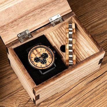 relogio masculino BOBO BIRD Men Watch Wood Bracelet Set Chronograph Quartz Watches in Wooden Box Drop Shipping Engraving - My Life