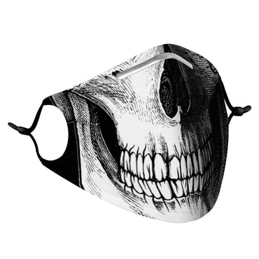 (Global Shop) SKULL - Printed Face Mask With (4) PM 2.5 Carbon Filters