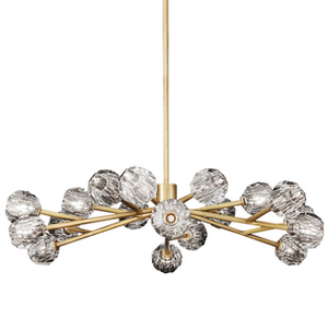 Brass stem multi globe chandelier