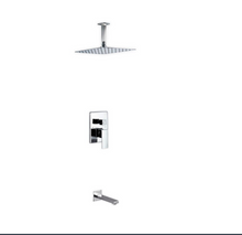 Load image into Gallery viewer, Waterfall Chrome Ceiling Shower & Bath Complete Set