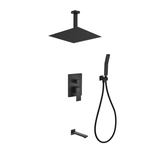 Waterfall Ceiling Black Shower Absolute Complete Set