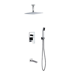 Waterfall Chrome Ceiling Shower & Bath Absolute Complete Set