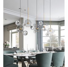 Load image into Gallery viewer, Sculptural brass glass Stems and Balls Chandelier LED Light