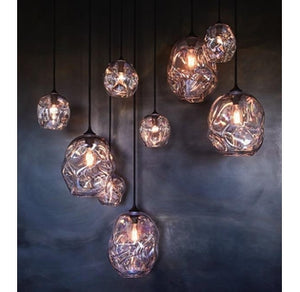 Sculptured Glass Ball Pendant Light
