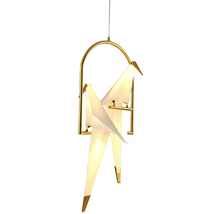 Load image into Gallery viewer, Shiny Gold Bird LED Light Pendant