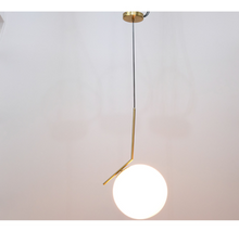 Load image into Gallery viewer, Brass white glass stem pendant light with ball