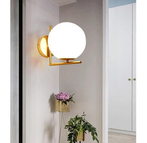 Wall mount Brass and White Glass sconce Light