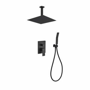 Waterfall Ceiling Black Shower Complete Set
