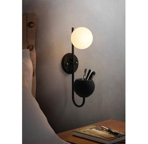 wall mount globe storage sconce light