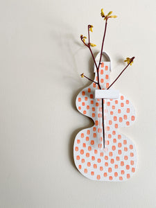 Spritely Vase (white and pink dots)