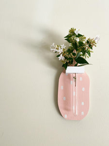 Spritely Vase (pink and white dots)
